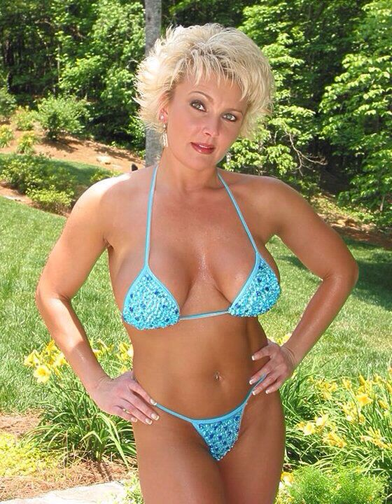 Mature woman blue bikini are