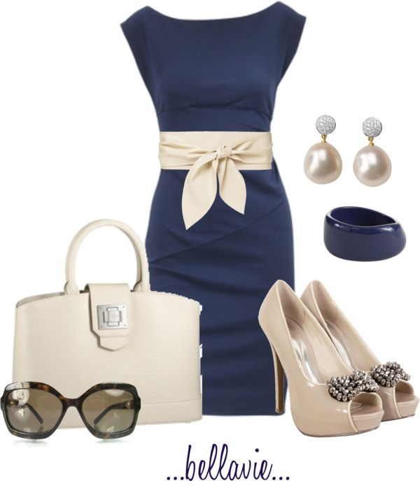 combinación de ropa-vestido(azul-beige)