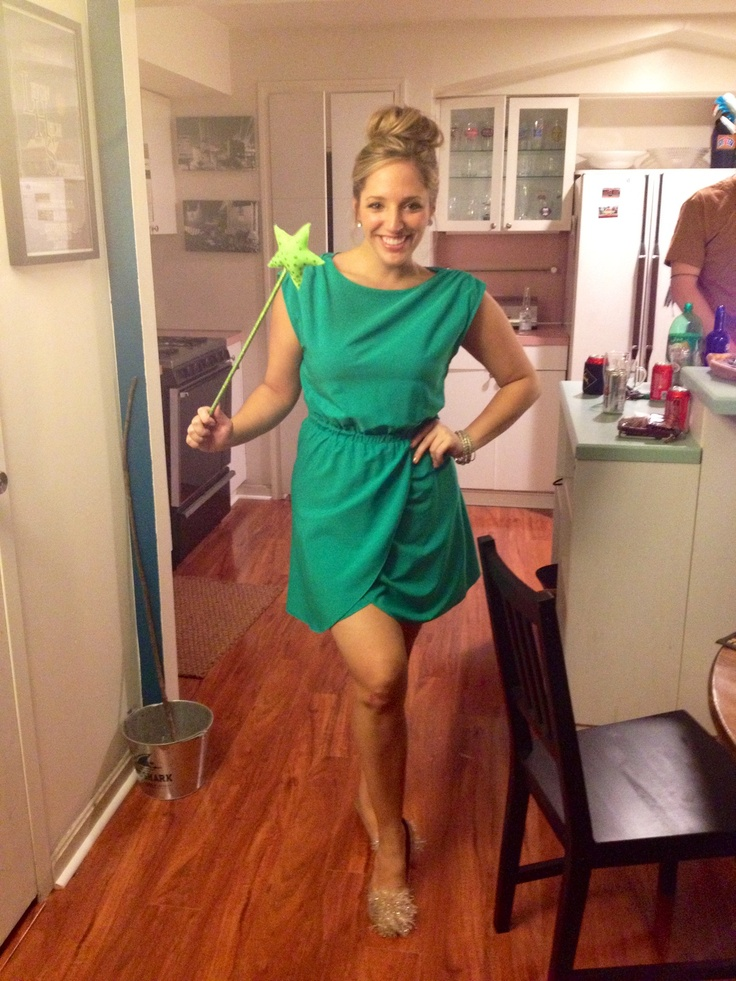 DIY Tinkerbell Costume - green dress, bun, poms added to flats, wand...good to go! love this!