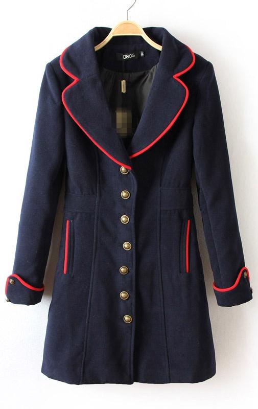 Navy Notch Lapel Long Sleeve Buttons Coat