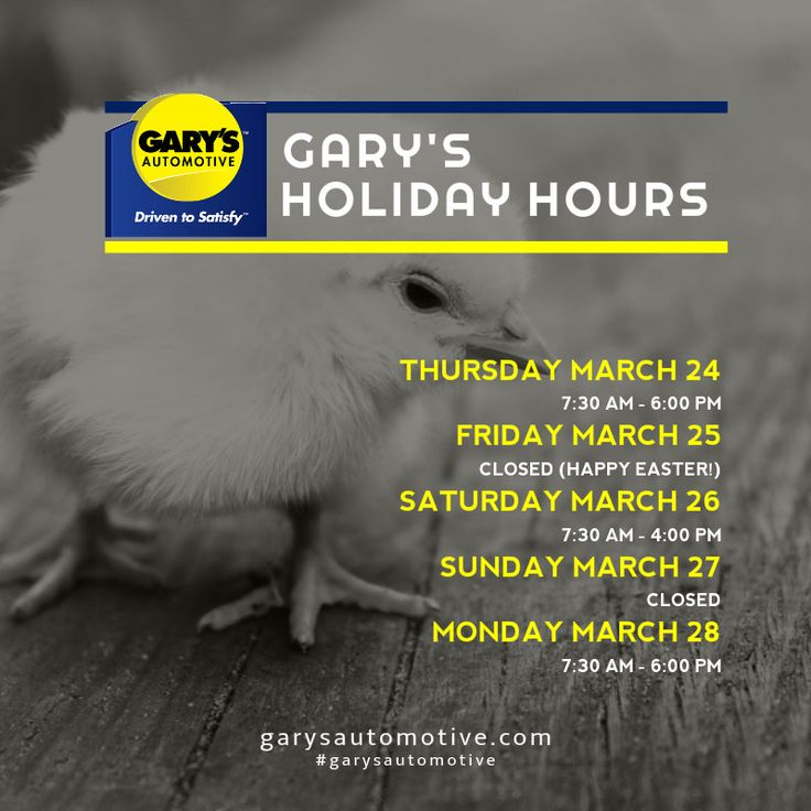 We'd like to wish all of our fans and followers a wonderful Easter long weekend. Here are our holiday store hours. #garysautomotive #garysottawa #storehours #easter