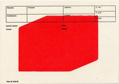 Karel Martens  Untitled, circa 2005  letterpress monoprint on catalogue card from the Moravian Museum Brno, Czech Republic