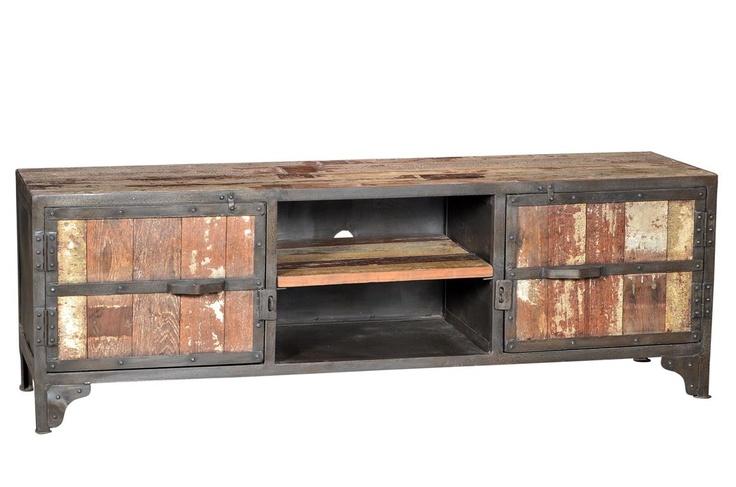 Vintage Industrial T.V Cabinet,  Reclaimed Teak Wood