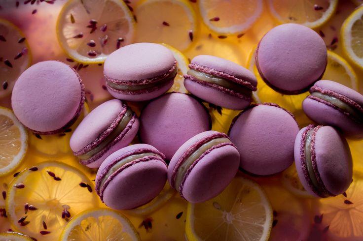 Macarons with white Valrhona chocolate ganache, lemon juice and lavender.