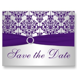 silver and purple save the date cards, im liking but maybe with a simple bow instead of the bling