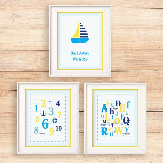 Classic set of nautical wall art - Sailboat, numbers and alphabets, both educational and stylish  #teampinterest