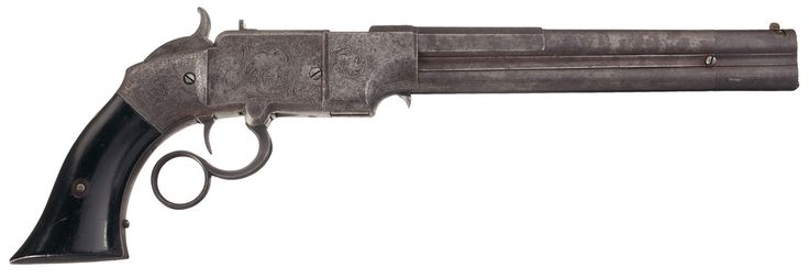 "riflepistolshotgun: Desirable Rare Large Frame Smith & Wesson Lever Action Magazine Pistol Predecessor to the more frequently encountered brass frame ""volcanic"", this is a rare example of the 8 inch barrel 38 caliber ""lever action magazine pistol"" manufactured by Smith & Wesson Repeating Arms Company which began manufacturing in 1854. The company would be reorganized a year later, 1855, as the Volcanic Repeating Arms Company and the rest is history. Smith & Wesson focused their efforts to…"