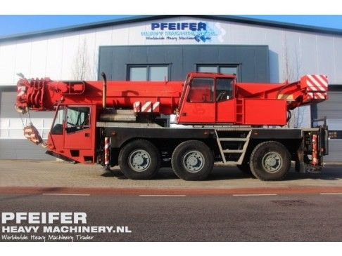 #Used #DEMAG - AC155 #telescopic #crane available at #Pfeifer #Heavy #Machinery. Year of construction 1994. Kilometers 178847. Hours carrier 30207. Loading (lifting) capacity (kg) 55000. Boom length maximum (m) 40. Fuel Diesel. PHM-Id 06640.