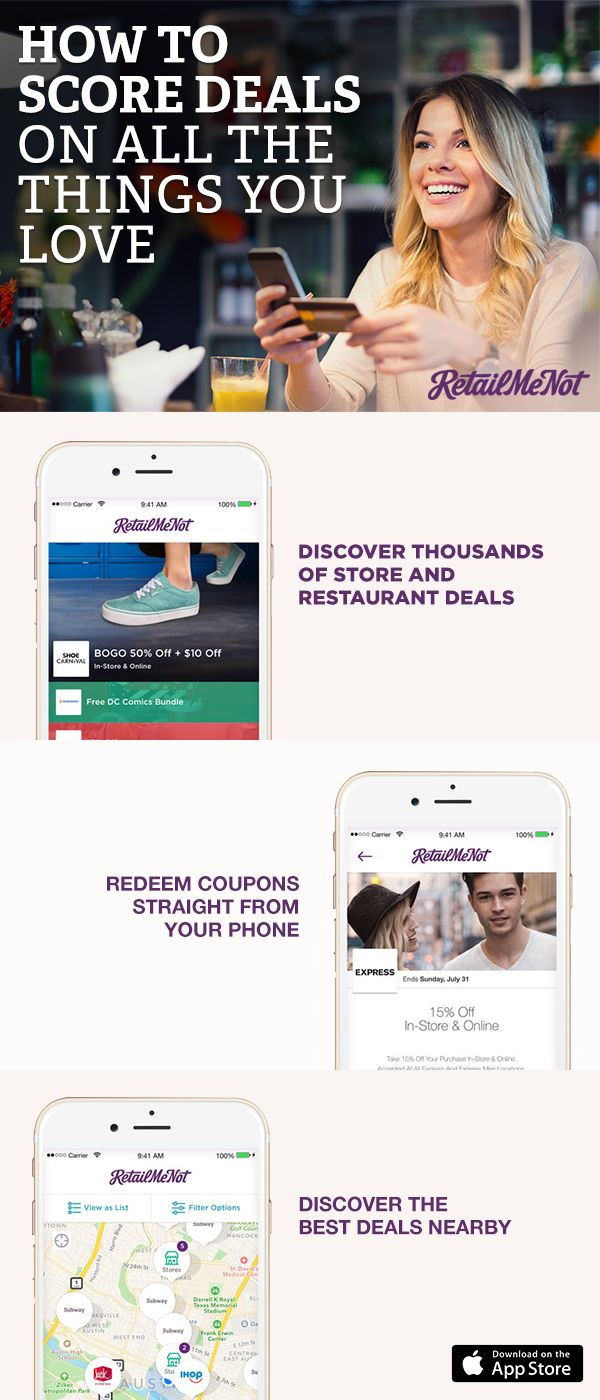 Download the free RetailMeNot app and get instant access to deals from over 50,000 retailers. Get your hands on all the online codes and printable coupons you need to save big or simply show your phone at checkout. Get the app and start saving!