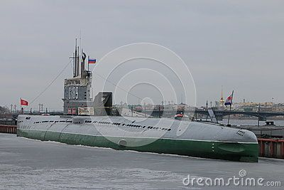 Soviet  diesel-electric submarine-museum near the pier. View from the stern along the left side. Saint-Petersburg, Russia