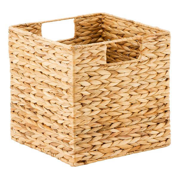 Now you have an artful way to gather up magazines, toys and more. Our natural Water Hyacinth Cubes are crafted completely by hand. They are constructed from water hyacinth and woven over a metal frame, so no two are exactly alike. Their integrated handles make them easy to remove from a shelf or transport from room to room. And you'll love that the Cubes are sized to fit within a variety of our shelving options.