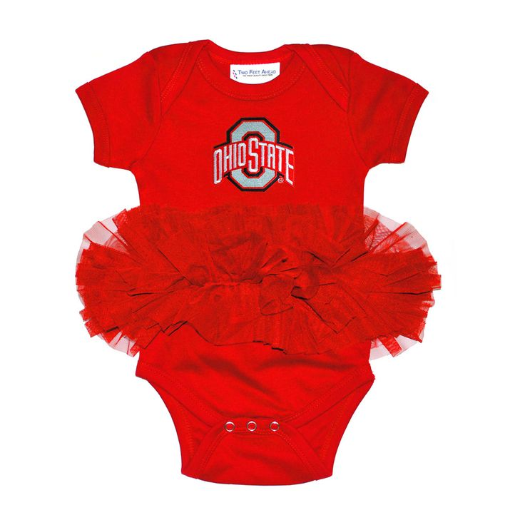Ohio State Baby Girl Red Bodysuit Onesie with Tutu Newborn