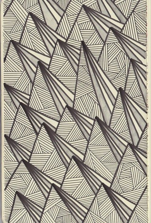 triangles lines black and white pattern design - Bloglovin. I did this obsessively as a teenager-triangles everywhere - just like this!
