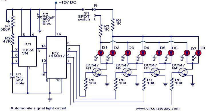 Automobile Turn Signal Circuit Electronic Circuit Projects