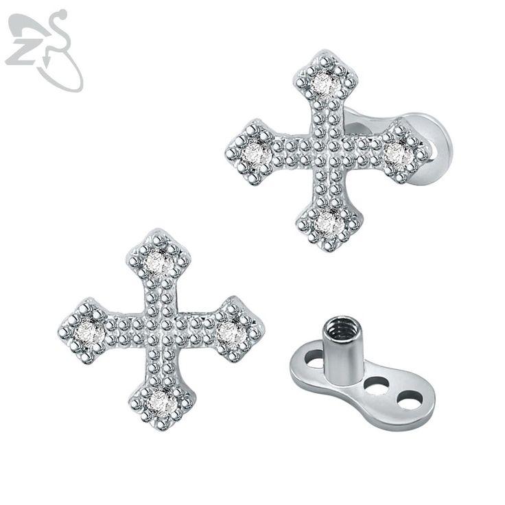 New Design Cross Micro Dermal Anchor Piercings Stainless Steel White Crystal Skin Dermal Piercing Retainers Hide In Jewelry