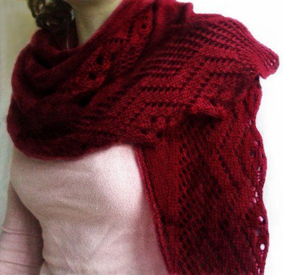 Warm Burgundy Knitted Shawl  Homemade Acrylic Knitted by LoriYarns, $35.00
