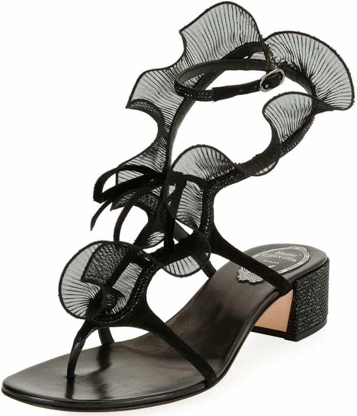 Rene Caovilla Ruffle Beaded Thong Sandals