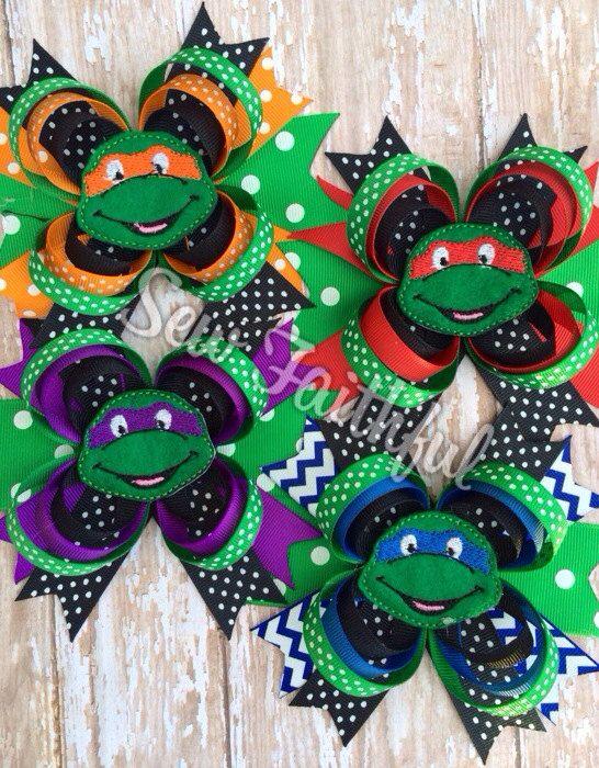 Teenage Mutant Ninja Turtle hair bow set on Etsy, $24.00