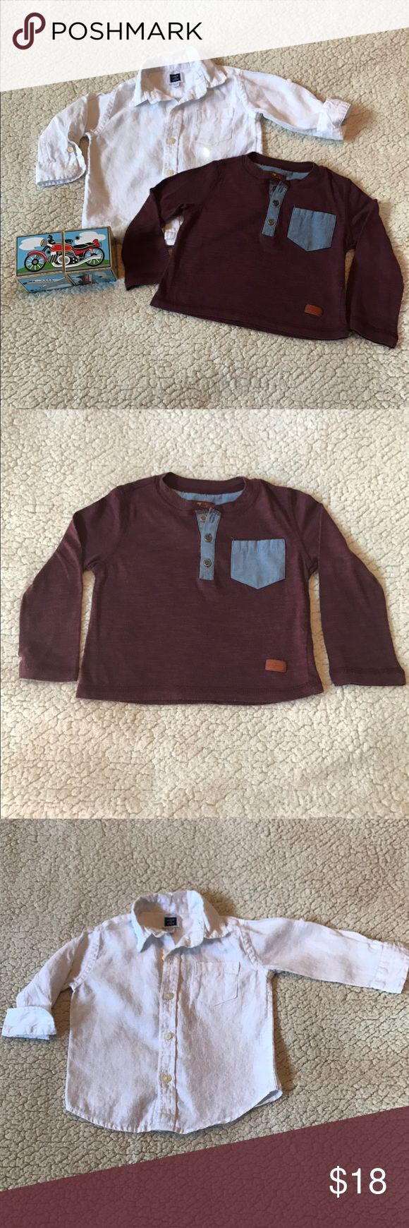 Toddler Boy's Tops White long sleeve linen shirt from Janie & Jack (12-18 mos) and a long sleeve maroon Henley shirt from 7 for all Mankind (size 2T, although I feel it runs small and would fit 12-18 mos). Used in great condition! If you want individual items from any listing just message me and I'll create a listing for you. 7 For All Mankind Shirts & Tops Tees - Long Sleeve