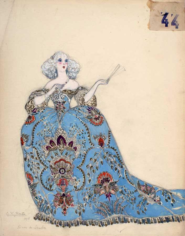 """Georges Kugel Benda (1873 - actif 1961), aquarelle, Costume pour """"Il Trovatore"""" à la Scala de Milan."""