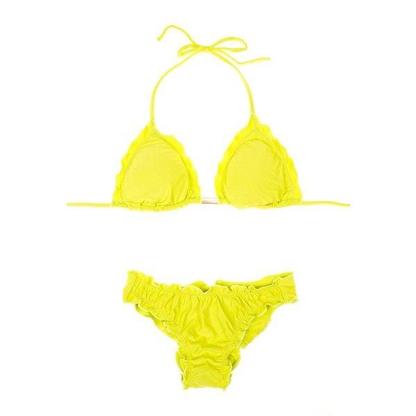 Maryssil Women's swimwear Yellow Bikini Top And Scrunch Bottom -... ($43) ❤ liked on Polyvore featuring swimwear, bikinis, yellow, shirred tankini top, triangle bikini, fringe bikini, swimsuits tops and ruched tankini top