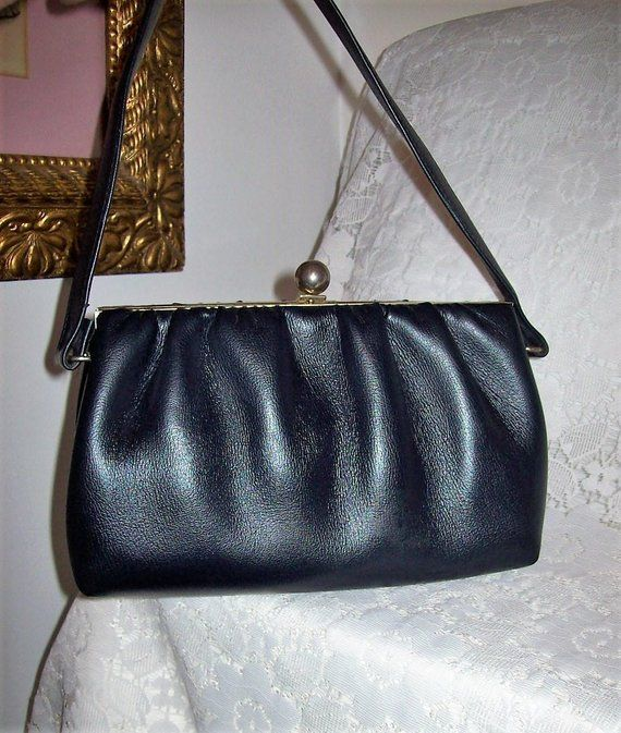 29df0fad2cb1 Vintage 1950s Ladies Navy Blue Handbag Purse w  Brass Flip Lock Only 14 USD