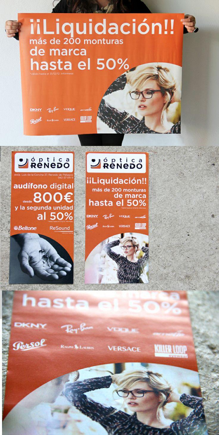 Realización de cartel y flyer promocional para Óptica Renedo, con imagen de uno de sus proveedores.