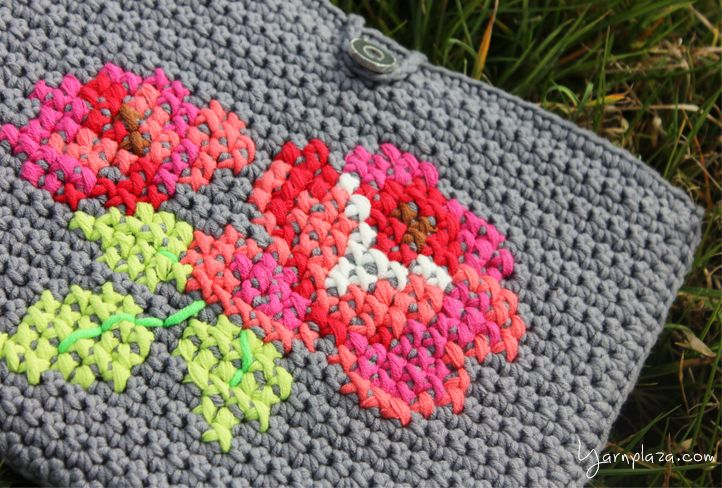 Free pattern - tablet cover with cross stitch flower