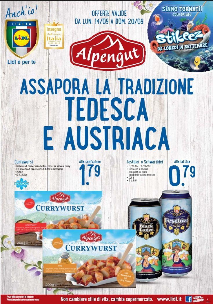 Volantino Lidl offerte valide dal 14 al 20 Settembre 2015. Offerte: Specialita con formaggio fuso 1,49 €; Leberkäse 1,99 €; Prosciutto cotto salmistrato.