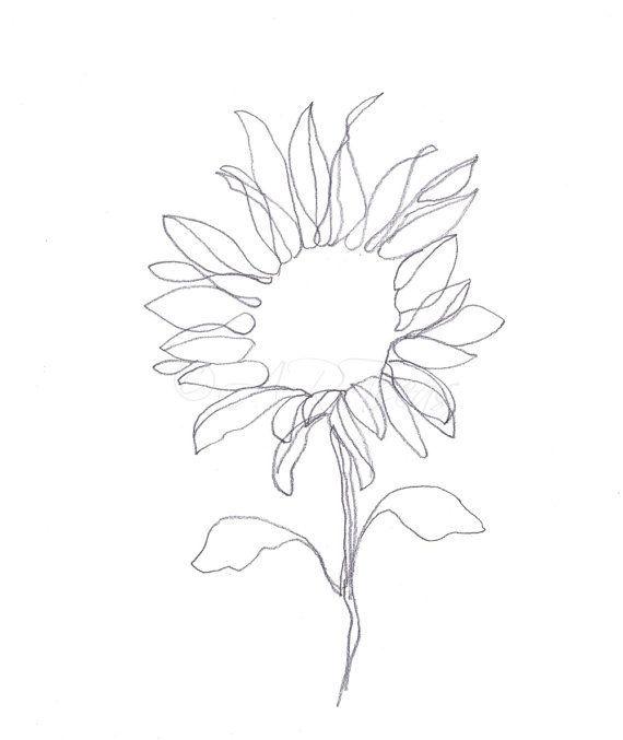 Sunflower Line Drawing Sunflower Drawing Line Drawing Tattoos Flower Prints Art