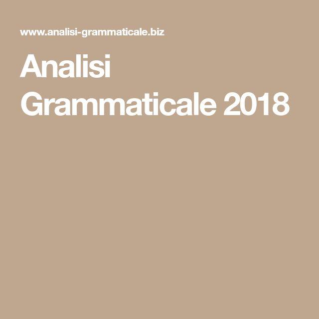Analisi Grammaticale 2018