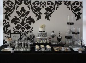 Black and white elegant dessert table