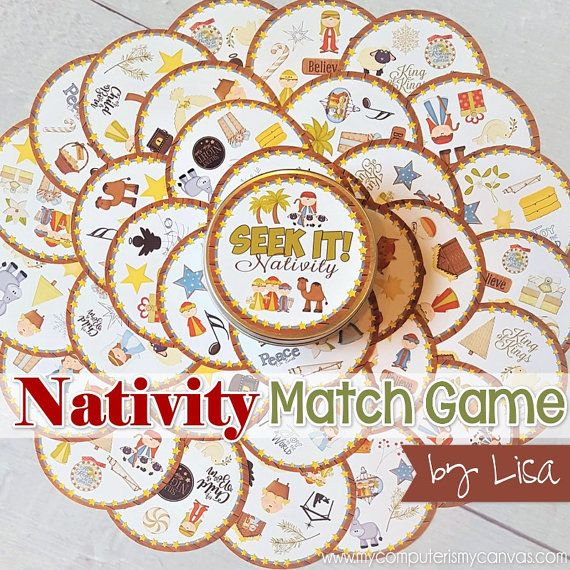 NATIVITY SEEK IT Match Game, Christmas Printables, Party, Family Game Night, Matching Game Cards - Printable Instant Download by Lisa