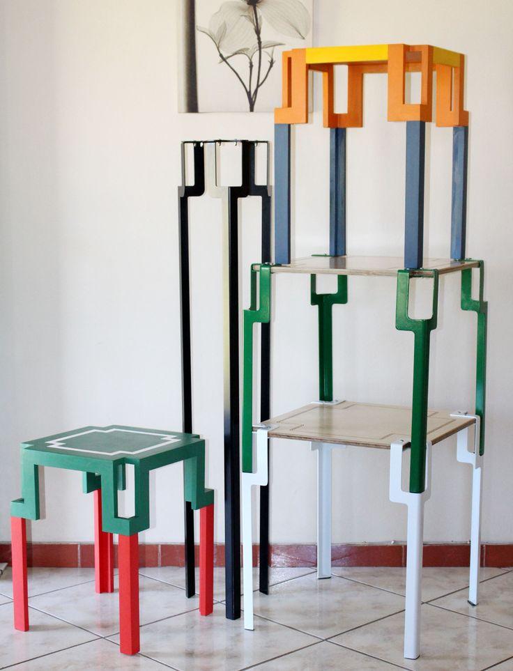 Pinda + Nandini tables #furniture #ModernAfrica #stack #colour #pattern #SiyandaMbele #Design #Durban #designindaba #ndebele