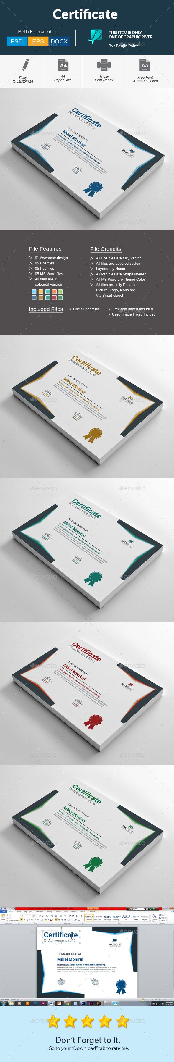 Certificate Template PSD, Vector EPS, AI Illustrator, MS Word