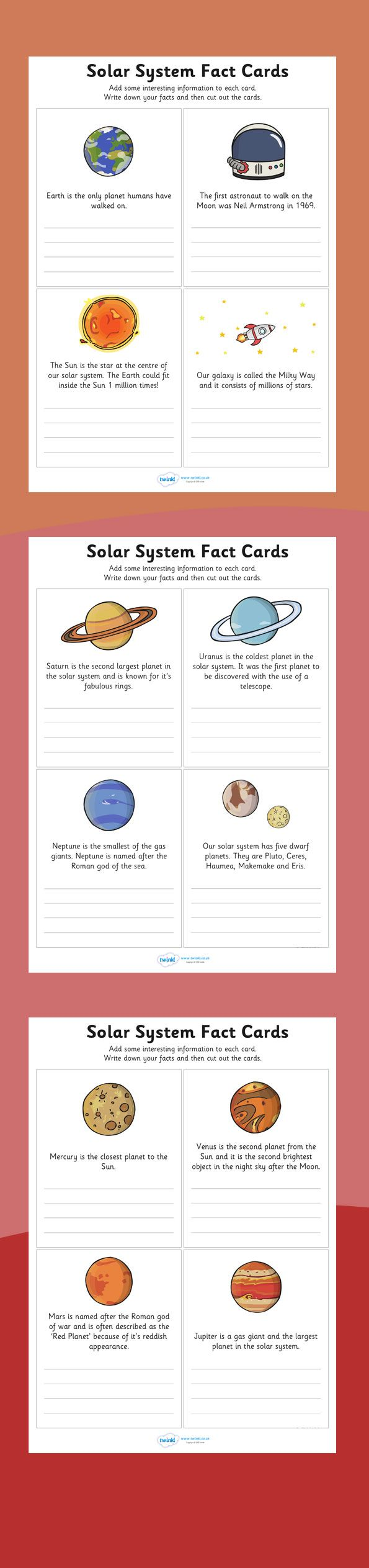 Finish the Solar System Fact Cards - twinkl