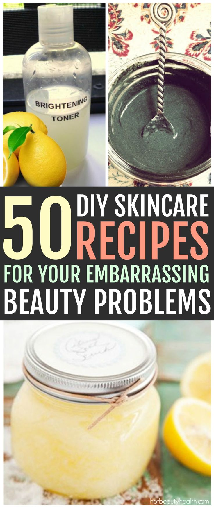 Check out these 50 DIY homemade skin care recipes made from simple kitchen ingredients! Huge list of beauty recipes (i.e. scrubs, toners, lip balm, body butters, etc) for all skin types: acne-prone, oily, dry, anti-aging and normal. Hot Beauty Health #skincare #DIY #diyskincare