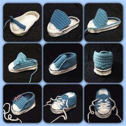 Converse örgü bebek patik yapımı