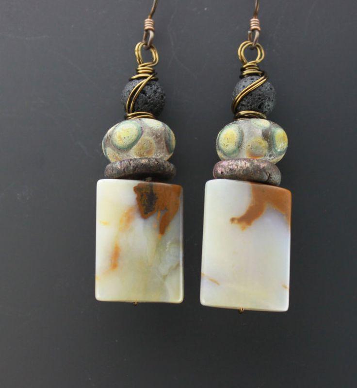 Rustic Earrings, Rustic Boho Earrings,Boho Earrings,Rustic Gemstone Earrings,Rustic Agate Earrings,Rustic Lava Earrings,Rustic Glass Earring by ChrisKaitlynJewelry on Etsy