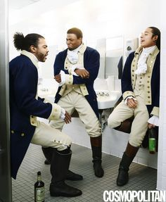Cast hits the town in costume...Founding Father Alexander Hamilton's Life Is Now a Hip-Hop Musical