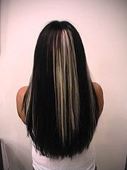 Black and Platinum Blonde Highlights with Hair Extensions
