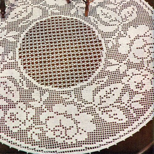 Rose Doily Pattern in Filet Crochet is 17, 19 or 20 inches