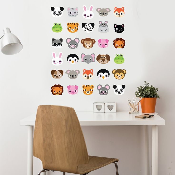 30 animal emoji wall decals. Our wall stickers are reusable and easy to apply. Cute animal emojis: lion, pig, elephant, panda bear, tiger, koala bear, hippo, puppy, kitten, fox, monkey, bear, frog, mo