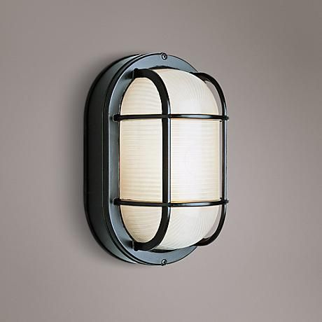 Bulkhead 8 1 2 high black oval grid outdoor wall light