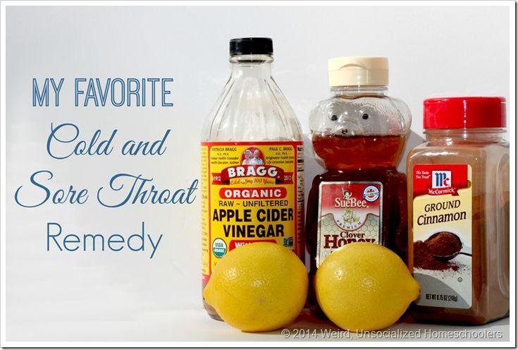 Apple cider vingar, honey, lemon juice, and cinnamon combine to make powerful DIY cold and sore throat mix.