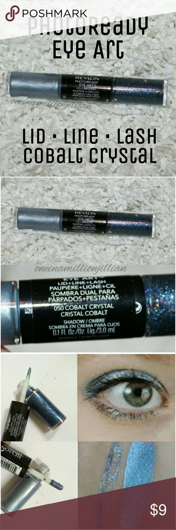 Revlon PhotoReady Eye Art - Cobalt Crystal New/Sealed (Swatches from Google)  Full Sz & Authentic  Color: Cobalt Crystal  Dual-ended with an intensely pigmented cream shadow on one end & a brilliant sparkle on the other. Cream shadow glides on effortlessy for smooth, rich color. Use the slim brush applicator to apply sparkle to the lid, as a liner or on the tips of lashes.  Check my page for more great items & discounts. #oneinamillionjillian #glitter Revlon Makeup Eyeliner