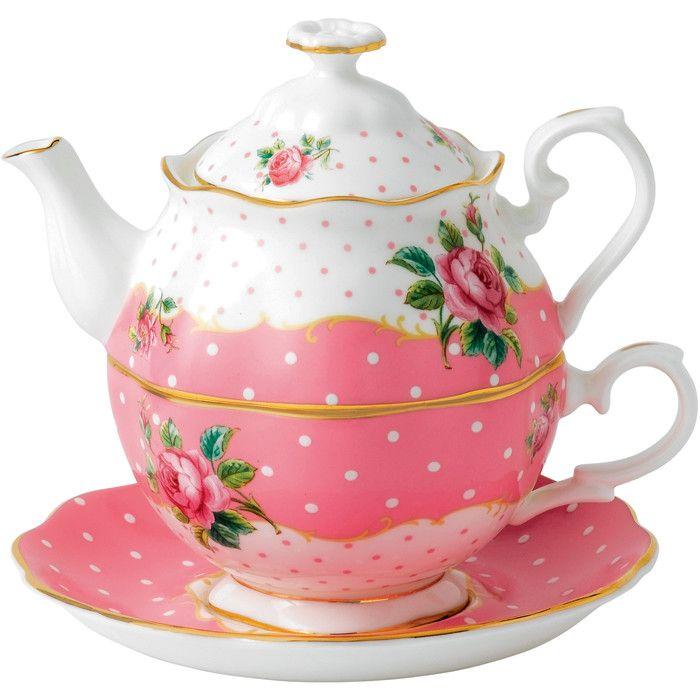 Marilee Bone China Tea For One Set in Cheeky Pink