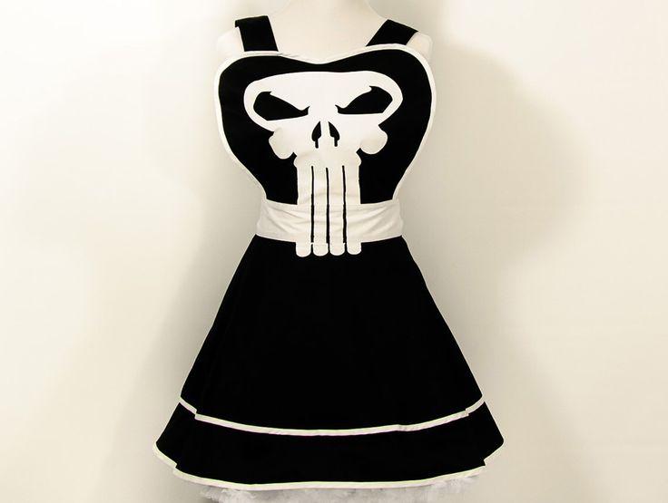 Punisher Apron, punisher costume, cosplay, geek, nerd, christmas gift, pinup, geek chic, punisher, costumes, halloween, halloween costumes by GEEKYpresents on Etsy https://www.etsy.com/listing/240107798/punisher-apron-punisher-costume-cosplay