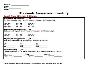 Phonemic Awareness Inventory Assessment Test * Pair with Spire or Sound Sensible