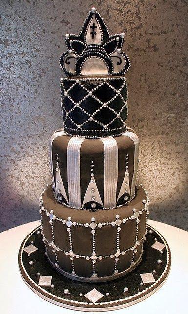 ♥Black & Silver Art Deco Wedding Cake